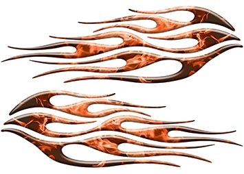 Motorcycle Tank Flame Decal Kit in Inferno Orange