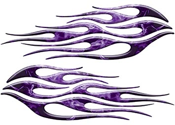 Motorcycle Tank Flame Decal Kit in Inferno Purple