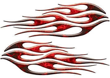 Motorcycle Tank Flame Decal Kit in Inferno Red