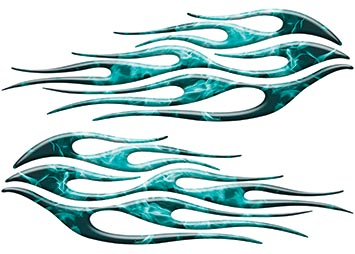 Motorcycle Tank Flame Decal Kit in Inferno Teal