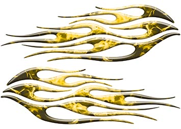 Motorcycle Tank Flame Decal Kit in Inferno Yellow