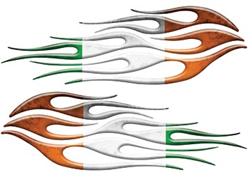 Motorcycle Tank Flame Decal Kit with Irish Flag