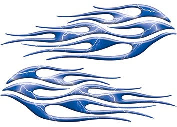 Motorcycle Tank Flame Decal Kit in Lightning Blue