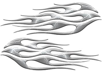 Motorcycle Tank Flame Decal Kit in Lightning Gray