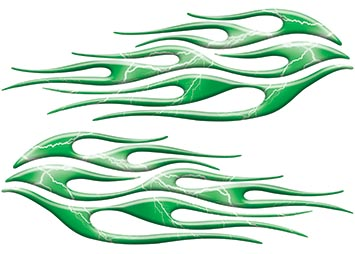 Motorcycle Tank Flame Decal Kit in Lightning Green