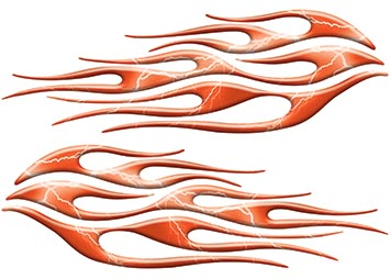 Motorcycle Tank Flame Decal Kit in Lightning Orange