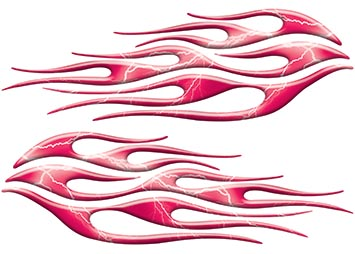 Motorcycle Tank Flame Decal Kit in Lightning Pink