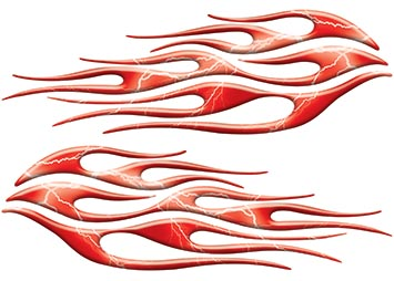 Motorcycle Tank Flame Decal Kit in Lightning Red