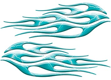 Motorcycle Tank Flame Decal Kit in Lightning Teal