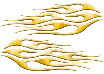 Motorcycle Tank Flame Decal Kit in Lightning Yellow