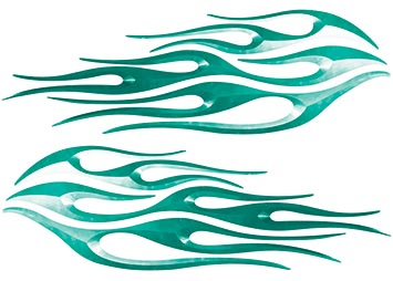 Motorcycle Tank Flame Decal Kit in Teal
