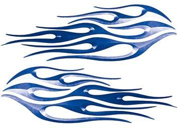 Motorcycle Tank Flame Decal Kit in Blue
