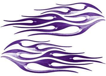 Motorcycle Tank Flame Decal Kit in Purple
