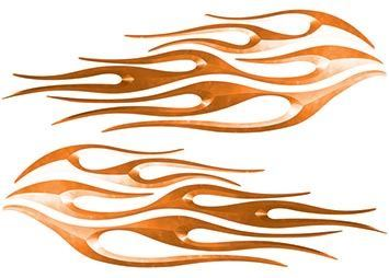 Motorcycle Tank Flame Decal Kit in Orange