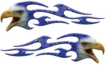Screaming Eagle Head Tribal Flame Graphic Kit in Blue Diamond Plate