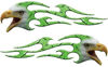 Screaming Eagle Head Tribal Flame Graphic Kit in Green Diamond Plate