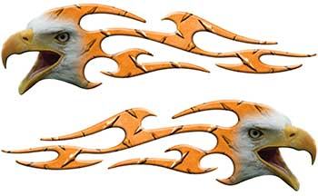 Screaming Eagle Head Tribal Flame Graphic Kit in Orange Diamond Plate