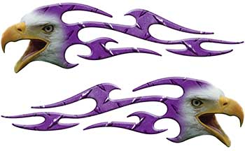 Screaming Eagle Head Tribal Flame Graphic Kit in Purple Diamond Plate
