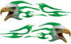 Screaming Eagle Head Tribal Flame Graphic Kit in Green