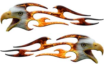 Screaming Eagle Head Tribal Flame Graphic Kit with Inferno Flames