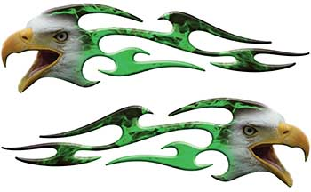 Screaming Eagle Head Tribal Flame Graphic Kit with Green Inferno Flames