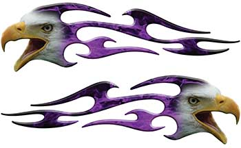 Screaming Eagle Head Tribal Flame Graphic Kit with Purple Inferno Flames