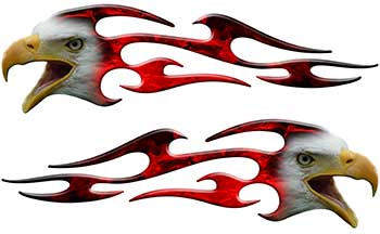 Screaming Eagle Head Tribal Flame Graphic Kit with Red Inferno Flames
