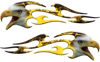 Screaming Eagle Head Tribal Flame Graphic Kit with Yellow Inferno Flames