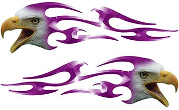 Screaming Eagle Head Tribal Flame Graphic Kit in Purple