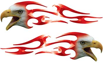 Screaming Eagle Head Tribal Flame Graphic Kit in Red