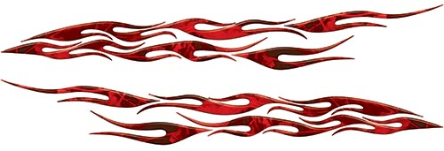 Car or Truck Flame Decal Kit in Red Camouflage