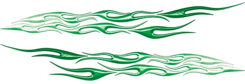 Car or Truck Flame Decal Kit in Green