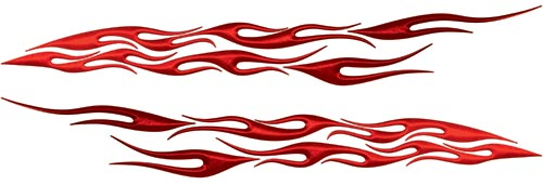 Car or Truck Flame Decal Kit in Red