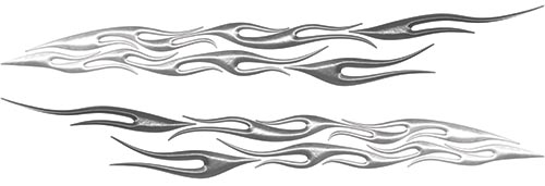 Car or Truck Flame Decal Kit in Silver