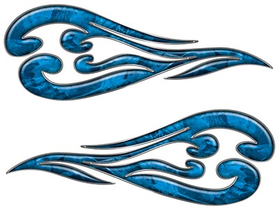 Custom Motorcycle Tank Flames or Vehicle Flame Decal Kit in Camouflage Blue