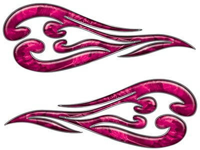 Custom Motorcycle Tank Flames or Vehicle Flame Decal Kit in Camouflage Pink