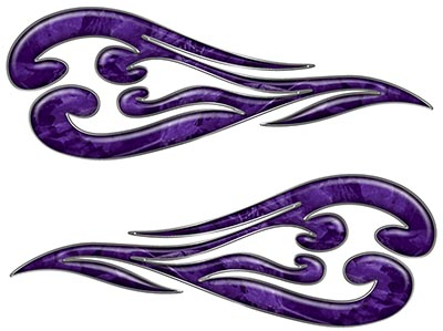 Custom Motorcycle Tank Flames or Vehicle Flame Decal Kit in Camouflage Purple
