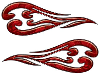 Custom Motorcycle Tank Flames or Vehicle Flame Decal Kit in Camouflage Red