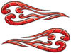 Custom Motorcycle Tank Flames or Vehicle Flame Decal Kit in Diamond Plate Red