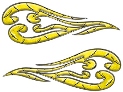 Custom Motorcycle Tank Flames or Vehicle Flame Decal Kit in Diamond Plate Yellow