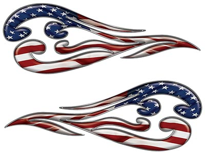 Custom Motorcycle Tank Flames or Vehicle Flame Decal Kit with American Flag