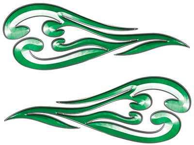 Custom Motorcycle Tank Flames or Vehicle Flame Decal Kit in Green