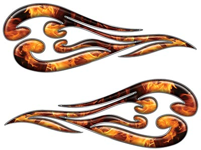 Custom Motorcycle Tank Flames or Vehicle Flame Decal Kit in Inferno