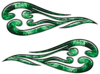 Custom Motorcycle Tank Flames or Vehicle Flame Decal Kit in Inferno Green