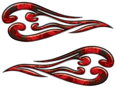 Custom Motorcycle Tank Flames or Vehicle Flame Decal Kit in Inferno Red