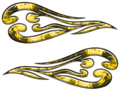 Custom Motorcycle Tank Flames or Vehicle Flame Decal Kit in Inferno Yellow