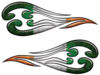 Custom Motorcycle Tank Flames or Vehicle Flame Decal Kit with Irish Flag