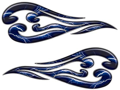Custom Motorcycle Tank Flames or Vehicle Flame Decal Kit in Lightning Blue