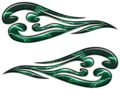 Custom Motorcycle Tank Flames or Vehicle Flame Decal Kit in Lightning Green
