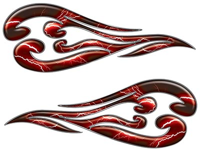 Custom Motorcycle Tank Flames or Vehicle Flame Decal Kit in Lightning Red